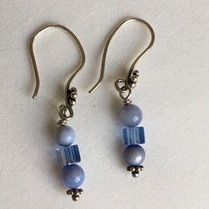 Vintage blue lace agate earrings